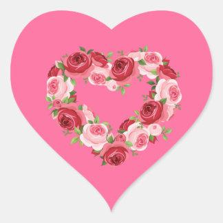 Guirnalda de la flor del corazón, amor pegatina en forma de corazón