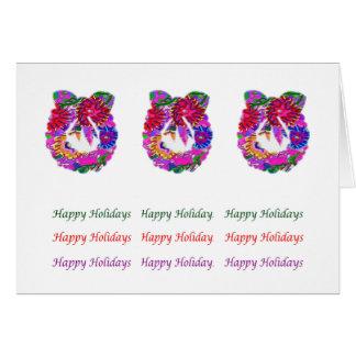 Guirnalda de la flor del texto n de HappyHolidays Tarjeta De Felicitación