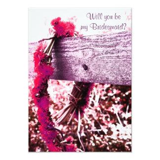 guirnalda de la flor usted será mi dama de honor invitación 12,7 x 17,8 cm