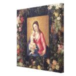 Guirnalda de la fruta y de las flores con la Virge Lienzo Envuelto Para Galerías