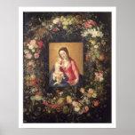 Guirnalda de la fruta y de las flores con la Virge Póster