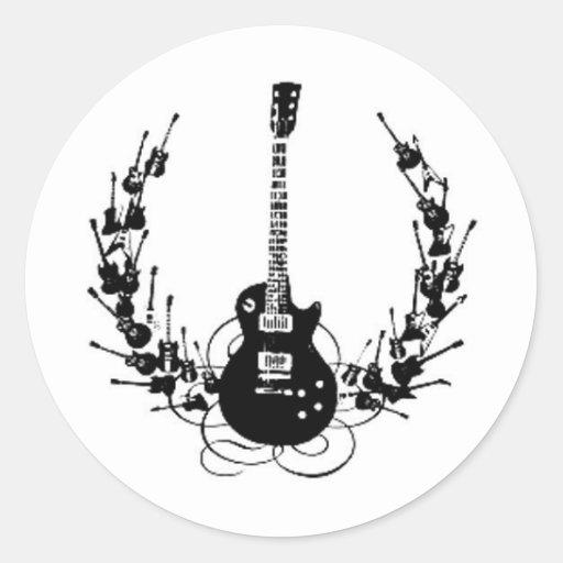Guirnalda de la guitarra del rollo de N de la roca Pegatina Redonda