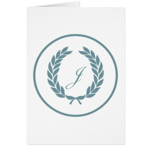 Guirnalda de la hoja del laurel del monograma tarjeta de felicitación