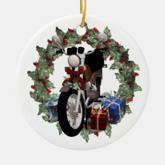 Guirnalda de la motocicleta y ornamento redondo de adorno navideño redondo de cerámica