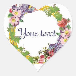 Guirnalda de la primavera del vintage - pegatina en forma de corazón