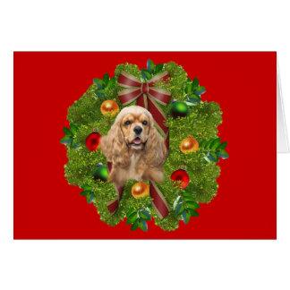 Guirnalda de la tarjeta de Navidad de cocker spani