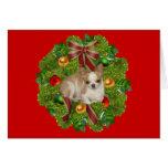 Guirnalda de la tarjeta de Navidad de la chihuahua