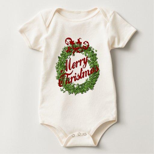 Guirnalda de las Felices Navidad Body Para Bebé