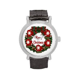 Guirnalda de las Felices Navidad con las manoplas Relojes
