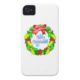 Guirnalda de las Felices Navidad iPhone 4 Case-Mate Protectores