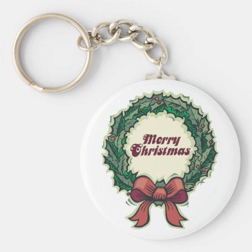 Guirnalda de las Felices Navidad Llavero Redondo Tipo Pin