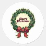Guirnalda de las Felices Navidad Pegatinas Redondas
