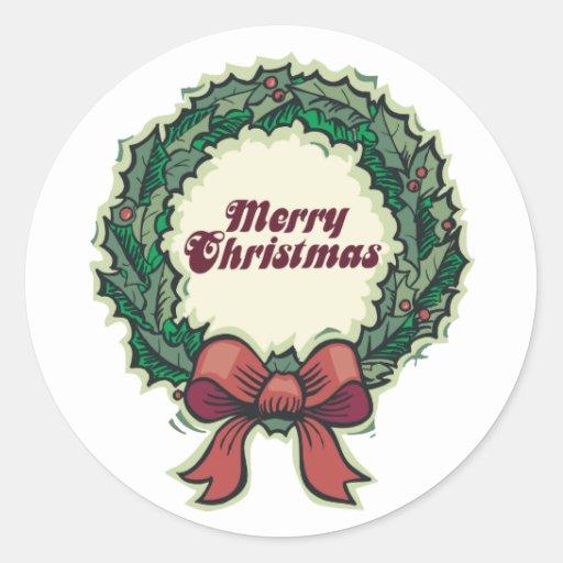 Guirnalda de las Felices Navidad Pegatina Redonda