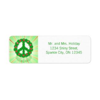 Guirnalda de los corazones de la paz del navidad etiqueta de remite