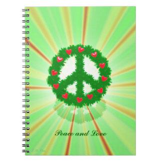Guirnalda de los corazones de la paz del navidad libros de apuntes