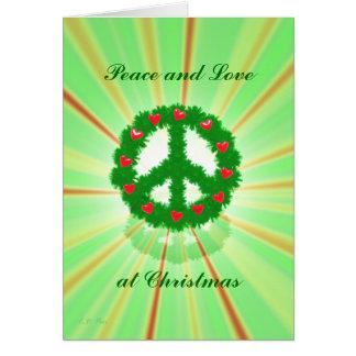 Guirnalda de los corazones de la paz del navidad tarjeta de felicitación
