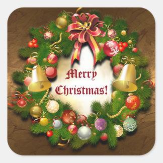 Guirnalda de Navidad de Personalizable Pegatina Cuadrada