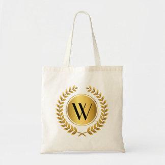 Guirnalda de oro del laurel con monograma bolsa tela barata