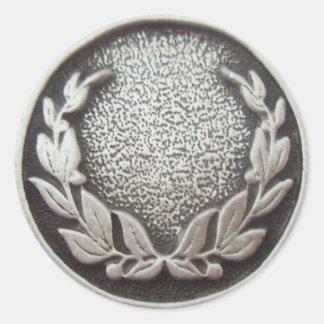 Guirnalda de plata del laurel pegatina redonda