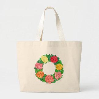 Guirnalda de rosas bolsa tela grande