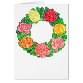 Guirnalda de rosas tarjeta de felicitación