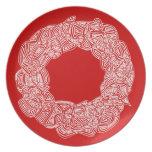 Guirnalda de Scribbleprints - blanco, en rojo Platos De Comidas