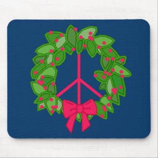 Guirnalda del acebo de la paz para el navidad tapete de raton