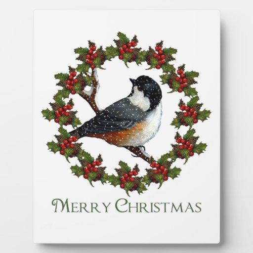 Guirnalda del acebo del navidad, Chickadee: Arte o Placa
