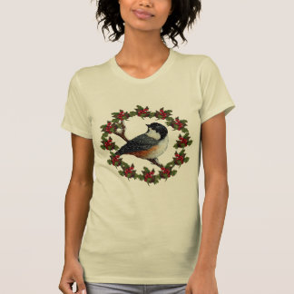 Guirnalda del acebo del navidad, Chickadee: Arte o Camiseta