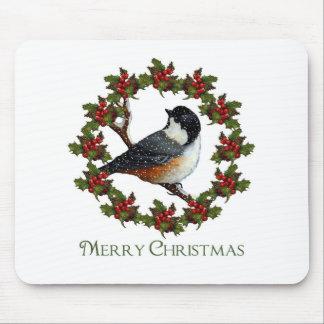 Guirnalda del acebo del navidad, Chickadee: Arte o Tapetes De Ratón
