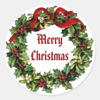 Guirnalda del acebo del navidad del vintage con la etiquetas redondas