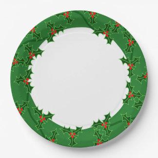 Guirnalda del acebo del navidad platos de papel