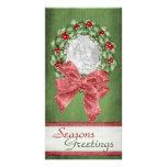 Guirnalda del acebo del navidad tarjetas fotograficas