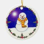 Guirnalda del acebo y ornamento feliz del navidad ornamento para reyes magos
