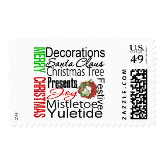 Guirnalda del collage de las Felices Navidad Timbres Postales