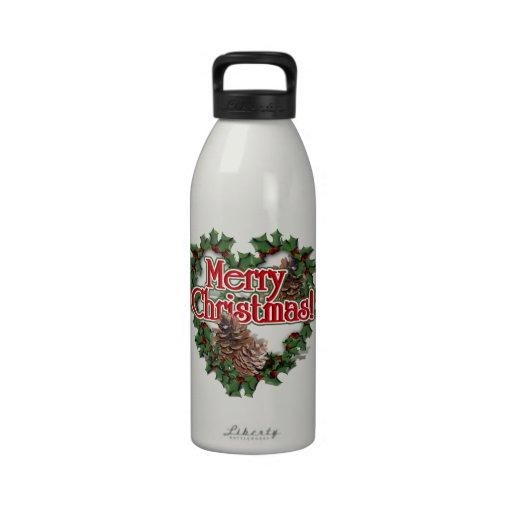 Guirnalda del corazón de las Felices Navidad Botellas De Beber