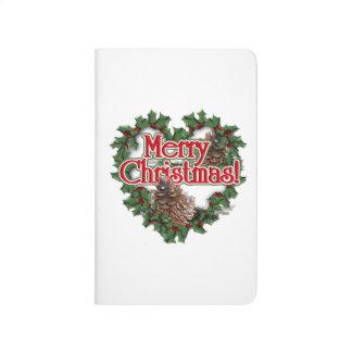 Guirnalda del corazón de las Felices Navidad Cuaderno Grapado
