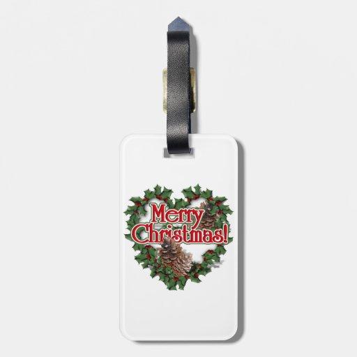 Guirnalda del corazón de las Felices Navidad Etiqueta De Maleta