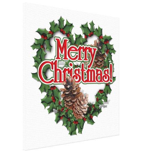 Guirnalda del corazón de las Felices Navidad Impresión En Lona