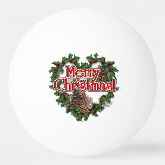 Guirnalda del corazón de las Felices Navidad Pelota De Tenis De Mesa