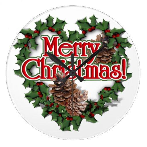 Guirnalda del corazón de las Felices Navidad Reloj De Pared