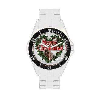 Guirnalda del corazón de las Felices Navidad Relojes De Pulsera