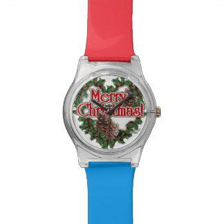 Guirnalda del corazón de las Felices Navidad Relojes De Mano