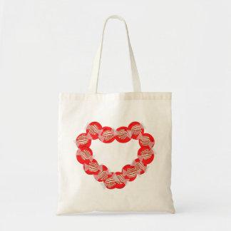 Guirnalda del corazón del caramelo de hierbabuena bolsa lienzo