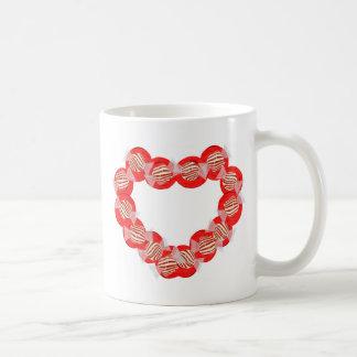 Guirnalda del corazón del caramelo de hierbabuena tazas de café