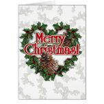 Guirnalda del corazón del navidad felicitaciones
