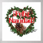 Guirnalda del corazón del navidad (Feliz Navidad) Póster