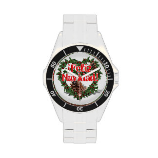 Guirnalda del corazón del navidad (Feliz Navidad) Relojes