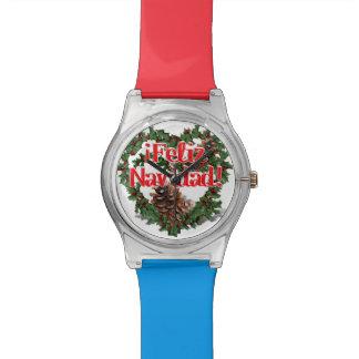 Guirnalda del corazón del navidad (Feliz Navidad) Reloj De Mano