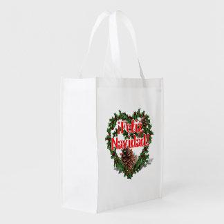Guirnalda del corazón del navidad (Feliz Navidad) Bolsas Para La Compra